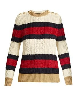 Striped Cable Knit Wool Sweater by Matches Fashion