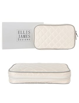 Ellis James Designs Quilted Travel Jewelry Organizer Bag Case   Cream   Soft Padded Traveling Jewelry Roll Pouch Compartments Necklace Holder by Ellis James Designs
