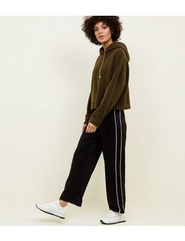 Khaki Cropped Borg Hoodie by New Look