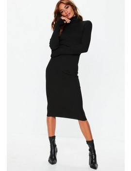 Black Roll Neck Ribbed Knitted Midi Dress by Missguided