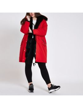 Plus Red Faux Fur Hooded Parka by River Island