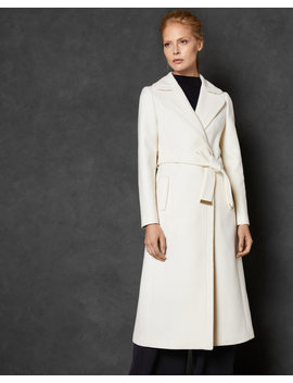 Wide Collar Long Wool Wrap Coat by Ted Baker