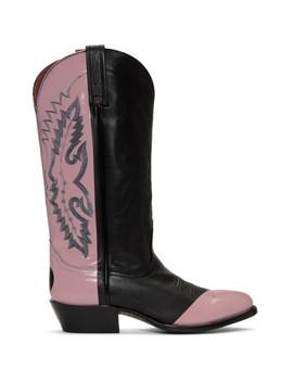 Black & Pink Sarah Morris Edition Cowboy Boots by Helmut Lang