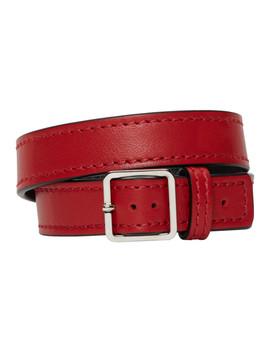 Red Leather Wrap Bracelet by Maison Margiela
