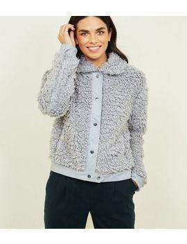 Pink Vanilla Grey Faux Shearling Bomber Jacket by New Look