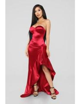 I'm Just Drawn That Way Ruffle Dress   Red by Fashion Nova