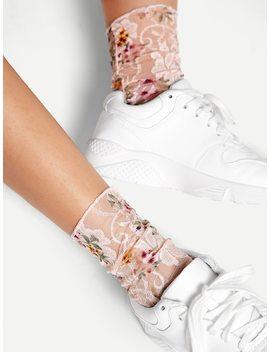 Flower Print Socks 1pair by Sheinside