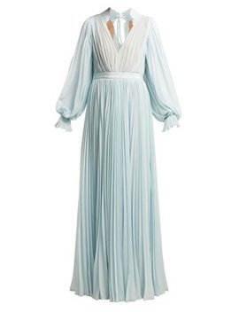 Pleated Chiffon Maxi Dress by Matches Fashion