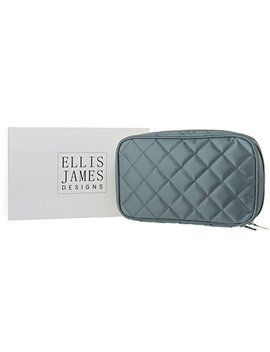 Ellis James Designs Quilted Travel Jewelry Organizer Bag Case   Grey   Soft Padded Traveling Jewelry Roll Pouch With Compartments And Necklace Holder by Ellis James Designs
