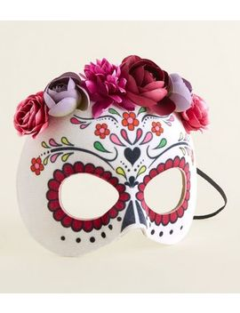White Day Of The Dead Halloween Mask by New Look