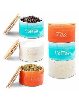 Uno Casa Ceramic Canister Set For Coffee Tea Sugar   3 Piece Kitchen Storage Jars With Bamboo Airtight Lid   Suitable As Food Containers by Uno Casa