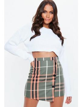Khaki Wrap Over Button Plaid Mini Skirt by Missguided