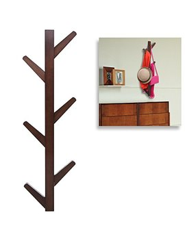 Modern Brown Bamboo Wall Mounted 6 Hook Hanging Storage Organizer, Entryway Coat & Hat Rack by My Gift