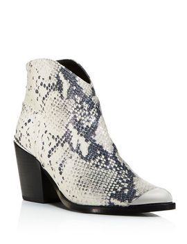Women's Pose Pointed Toe Snake Skin Embossed Leather Mid Heel Booties   100 Percents Exclusive by Aqua