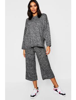 Jumper And Cropped Wide Trouser Set by Boohoo