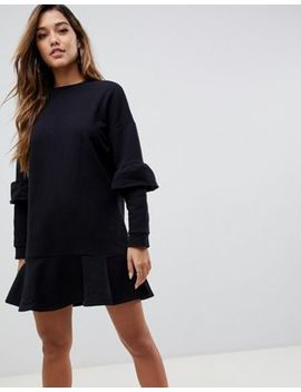 Asos Design Pep Hem Sweat Dress With Frill Sleeve by Asos Design