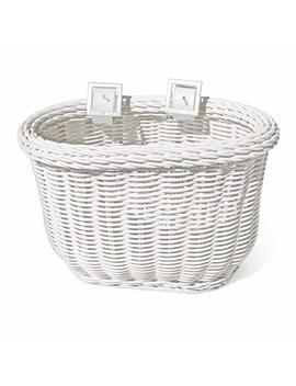 Colorbasket 01242 Front Handle Bar Kids Bike Basket, Water Resistant, Leather Straps, White by Colorbasket