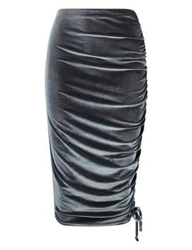 Poppy Rouched Velvet Asymetric Midi Skirt by Boohoo