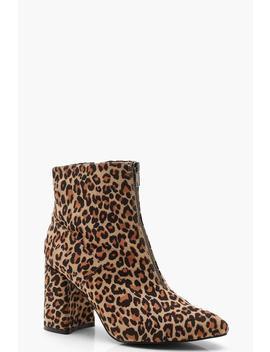 Zip Front Leopard Block Heel Shoe Boots by Boohoo