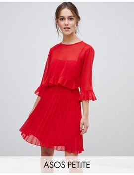 Asos Design Petite Double Layer Pleated Mini Dress by Asos Design