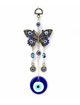 Blue Evil Eye With Butterfly Hanging Decoration Ornament ( With A Betterdecor Pouch) 003 by Betterdecor