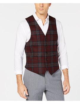 Men's Classic Fit Burgundy/Gray Wool Tartan Plaid Vest by Lauren Ralph Lauren