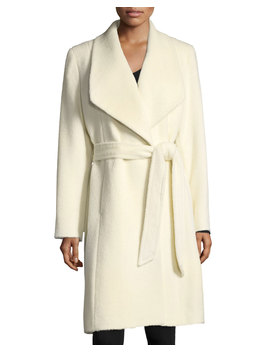 Belted Shawl Collar Baby Suri Alpaca Wrap Coat by Sofia Cashmere