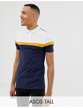 Asos Design Tall Polo Shirt With Cut And Sew Panels In Navy by Asos Design
