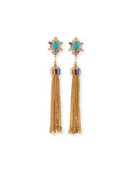 Multicolor Tassel Drop Earrings by Sequin