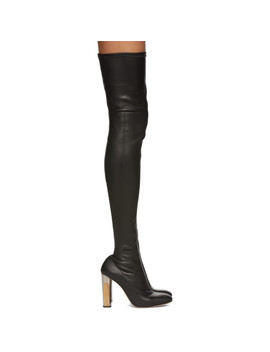 Black Stretch Leather Over The Knee Boots by Alexander Mcqueen