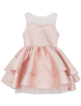 Little Girls Illusion Neck Satin Dress by Rare Editions