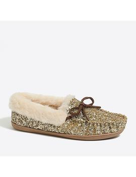 Glitter Shearling Slippers by J.Crew
