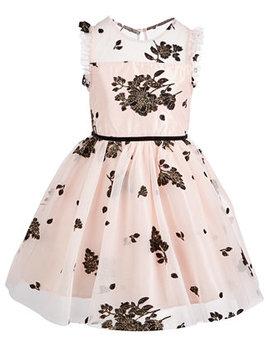 Little Girls Floral Mesh Dress by Pink & Violet