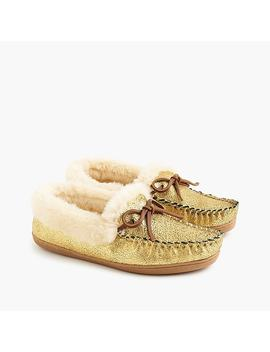 Women's Lodge Moccasins In Metallic Gold by J.Crew