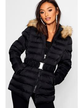 Petite Belted Longline Padded Coat by Boohoo