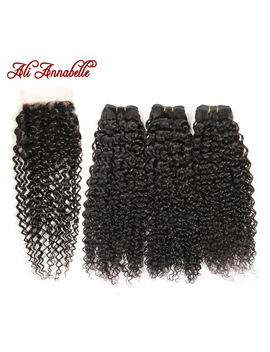 Ali Annabelle Hair Brazilian Kinky Curly Human Hair Bundles With Closure Brazilian Remy Hair 4 Pieces Pack Free Part Closure by Ali Annabelle