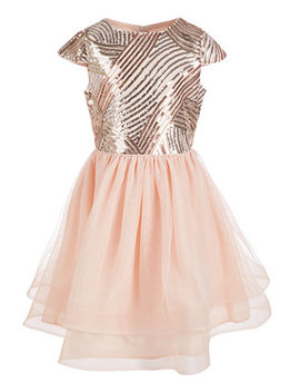 Big Girls Sequin Fit & Flare Dress by Us Angels