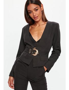 Black Cropped Western Belt Blazer by Missguided