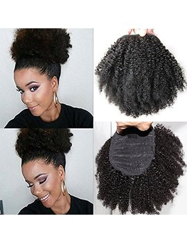 """Wrap Drawstring Short Afro Kinky Curly Human Hair Puff Ponytail Extensions With Clips 10""""Inch 4b 4c Natural Curly Top Closure Clip Ins Ponytail Extensions For... by Beauty Youth"""