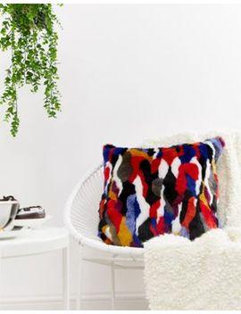 Monki Multi Colour Faux Fur Cushion Cover by Monki