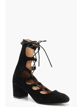Block Heel Lace Up Ballet Pumps by Boohoo