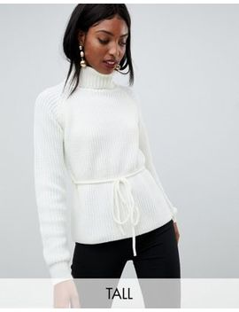 Fashion Union Tall Roll Neck Jumper With Waist Tie by Fashion Union