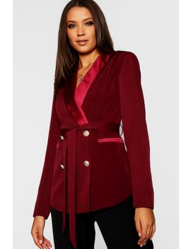 Tall Double Breasted Military Button Blazer by Boohoo