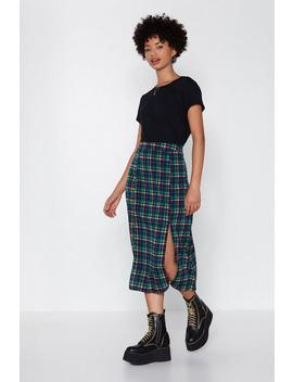 I'm Plaid You Came Midi Skirt by Nasty Gal