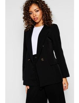 Double Breasted Horn Button Blazer by Boohoo