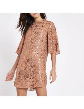 Dark Pink Sequin Swing Dress by River Island