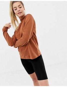 Asos Design Lightweight High Neck Sweat In Brown by Asos Design