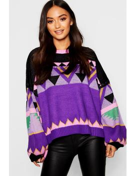 Petite Aztec Knitted Balloon Sleeve Box Jumper by Boohoo
