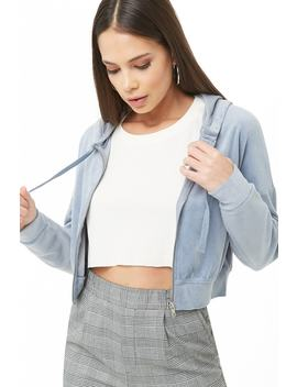 Cropped Velvet Zip Up Hoodie by Forever 21