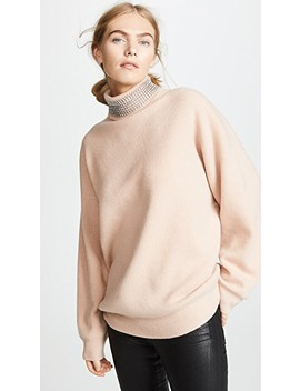 Turtleneck Pullover With Crystal Neck Trim by Alexander Wang
